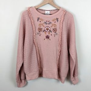 Knox Rose Sweaters - Knox Rose Floral Embroidered Sweater Size XXL